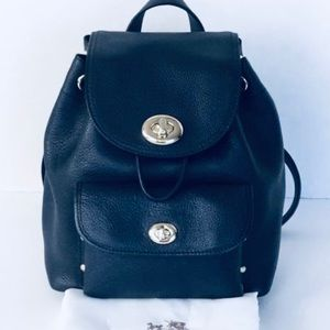Dark navy coach small leather backpack